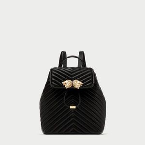 ZARA QUILTED BACKPACK WITH LION DETAILS